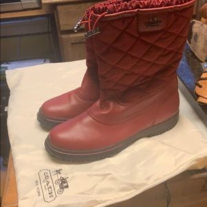 NWOT Coach Logo Red Short Leather Adj. Snow Boots